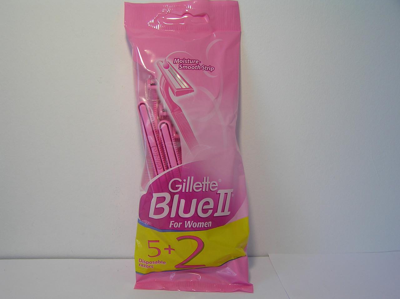 Gillette Жиллетт Blue II Блю 2 станок женский одноразовый 5+2 шт.