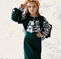 Этническое платье для девочки в украинском стиле зеленого цвета