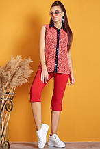 Летняя блуза(блузка) кофточка без рукавов с воротником. В горошек из сердечек. Коралловая