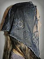 Накидка гипюровая черная с кольцами