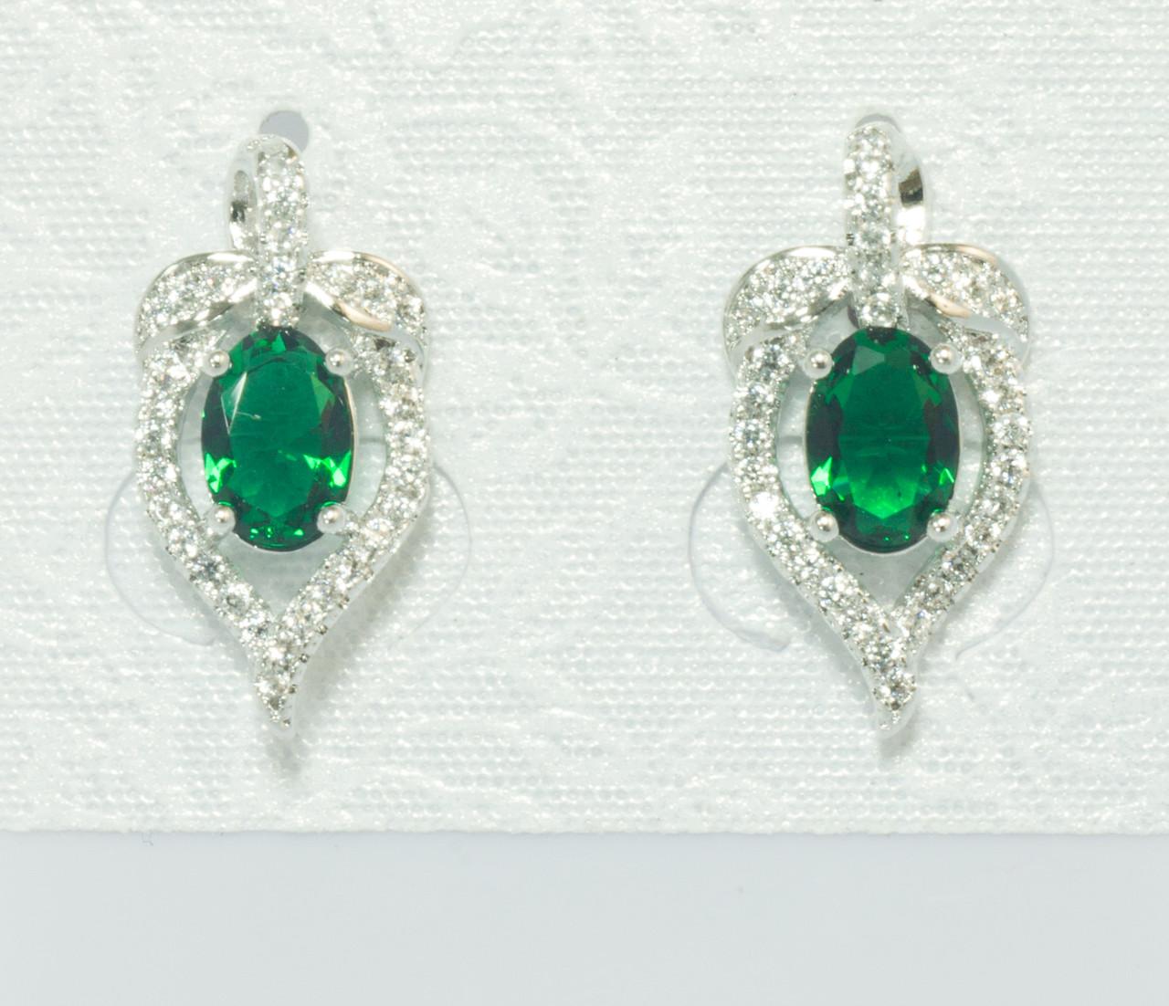 Сережки гвоздики родовані, Листочок з зеленим цирконієм, Xuping