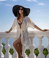 Белая летняя женская накидка, пляжный халат, белое пляжное парео из шифона