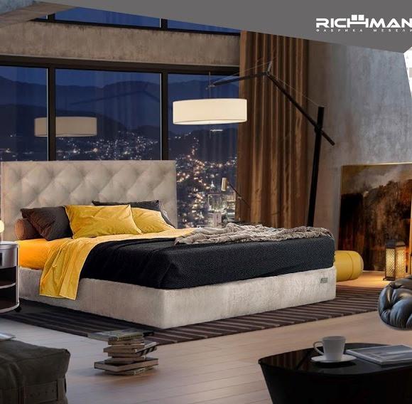 Двоспальне ліжко з м'яким узголів'ям Брістоль ТМ Richman