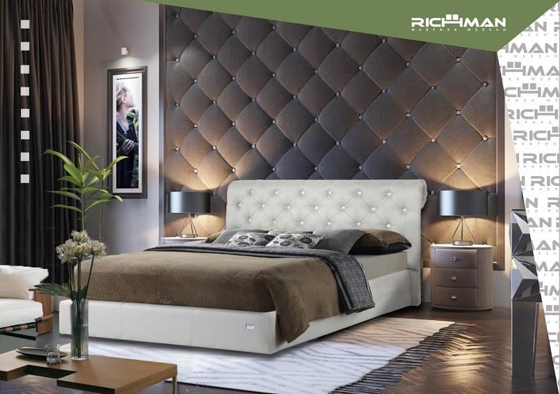 Двоспальне ліжко з м'яким узголів'ям Лондон ТМ Richman