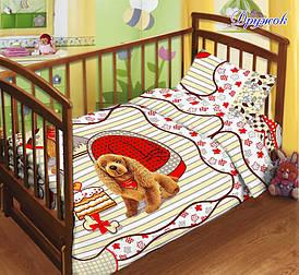 Детский комплект постельного белья с простынью на резинке Дружок