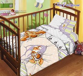 Детский комплект постельного белья в кроватку с простыней на резинке Пес в пижаме