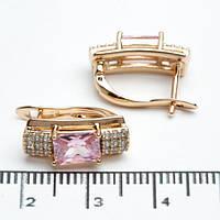 Серьги Xuping длина 1.5см медицинское золото позолота 18К розовый цирконий с933, фото 1