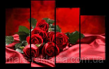 Модульная картина «Красная страсть», красные розы