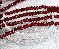 Бусины хрустальные 2х2мм кол-во: 180-190 шт, прозрачные рубиновые глянцевые