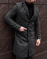 Мужское классическое однобортное стильное деловое молодежное длинное пальто из кашемира осень весна серое