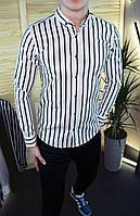 Мужская рубашка белая в черную полоску/2 цвета в наличии
