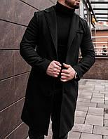 Мужское классическое однобортное стильное деловое молодежное длинное пальто из кашемира осень весна черное
