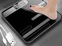 Підлогові ваги Mrosaa USB з загартованим склом Чорний
