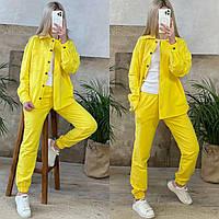 Костюм женский, костюм рубашка и джоггеры Желтый