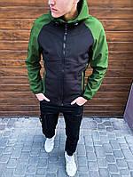 Мужская спортивная куртка Valeriyskaya stal с капюшоном, стильная молодежная ветровка, цвет черно-зеленый