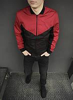 Бомбер мужской на молнии, стильная молодежная ветровка, весенняя куртка, цвет красно-черный