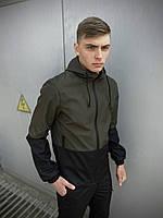 Мужская куртка ветровка Soft Shell с капюшоном, спортивная куртка, цвет хаки-черный + подарок ключница