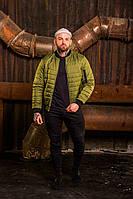 Бомбер мужской на молнии, стильная молодежная ветровка, весенняя куртка, цвет оливковый