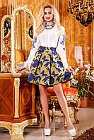 Яркая, нежная юбка со стильным орнаментом, жаккард, клеш, 42-46 размер 42