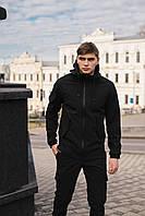 Мужской костюм Softshell черный демисезонный Intruder, Куртка мужская с капюшоном, штаны утепленные + Подарок