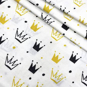 "Фланель ""Короны желтые, черные"" 160см"