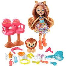 Набор Enchantimals Стильный салон и кукла Лейси Лев с питомцем GTM29