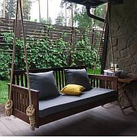 Подвесной диван-  кровать из массива Лиственницы для террасы, садовые качели