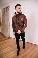 Мужской спортивный костюм New Balance с капюшоном, турецкая двухнитка, спортивные кофта и штаны коричневый