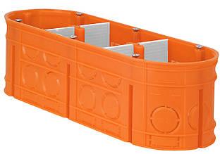 Коробка монтажная 3-х местная для сплошных стен полипропилен 650°С самозатухающая глубокая, SIMET M3x60F