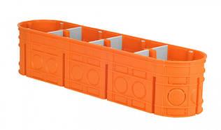 Коробка монтажная 4-х местная для сплошных стен полипропилен 650°С самозатухающая глубокая, SIMET M4x60F