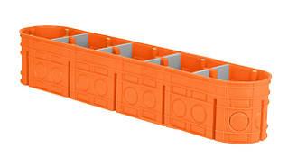 Коробка монтажная 5-ти местная для сплошных стен полипропилен 650°С самозатухающая глубокая, SIMET M5x60F