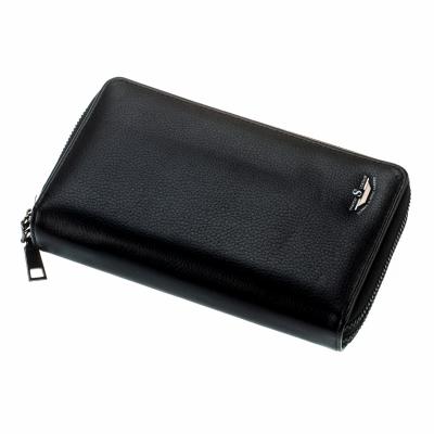 Мужской кошелек shaishi, черный, клатч, на змейке, 3 секции, отделение для карточек, эко кожа