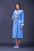 Махровый женский халат длинный из вставками