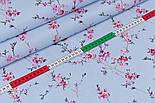 """Ранфорс шириной 240 см с принтом """"Ветки сакуры"""" розового цвета на голубом фоне (№3371), фото 3"""