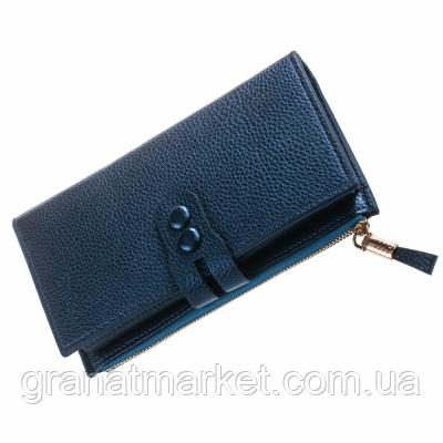 Женский кошелек Smiled, синий, эко кожа с рельефом, 4 секции, застежка, 12 отделений для карточек