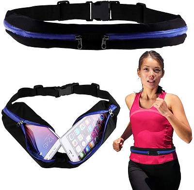 Сумка на пояс спортивная, сумка для бега чехол Runbag голубая 149605