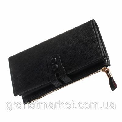 Женский кошелек Smiled, черный, эко кожа с рельефом, 4 секции, застежка, 12 отделений для карточек