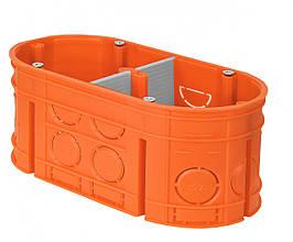 Коробка монтажная 2-х местная для сплошных стен полипропилен 650°C самозатухающая глубокая, SIMET M2x60F