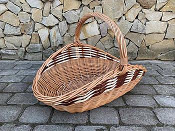 Корзина из натуральной лозы для дров светло-коричневая размер M 59х32 см Польша