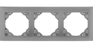 Рамка тройная универсальная EFAPEL LOGUS90 металлик алюминиевый 90930 TAL