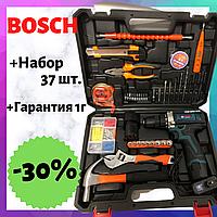 Шуруповерт Bosch TSR18-2li (18V 2Ah Li-Ion) С набором 37 од. Дрель Аккумуляторный шуруповерт Бош