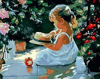 Картина раскраска по номерам на холсте 40*50см Mariposa Q840 Девочка со шляпкой