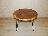 Журнальный столик круглый из натурального дерева Ясен 48*53 см. Кофейный столик для гостиной. Столик лофт, фото 2