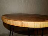 Журнальный столик круглый из натурального дерева Ясен 48*53 см. Кофейный столик для гостиной. Столик лофт, фото 10