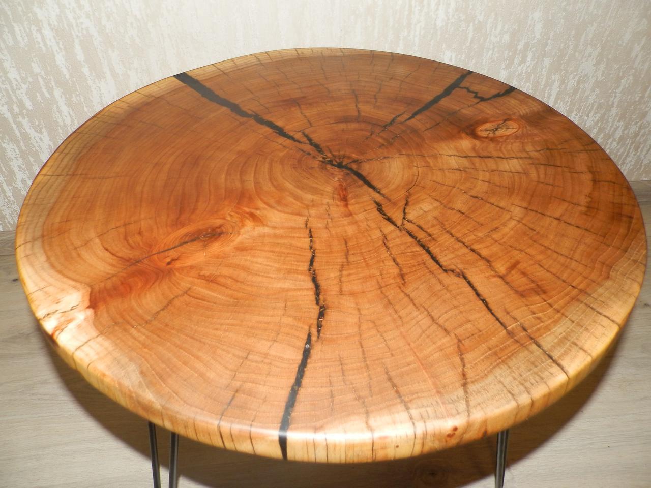 Журнальный столик круглый из натурального дерева Ясен 48*53 см. Кофейный столик для гостиной. Столик лофт