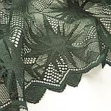 Стрейчевое (эластичное) кружево темно-зеленого цвета шириной 22 см., фото 4