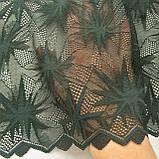 Стрейчевое (эластичное) кружево темно-зеленого цвета шириной 22 см., фото 6