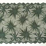 Стрейчевое (еластичне) мереживо темно-зеленого кольору шириною 22 див., фото 5
