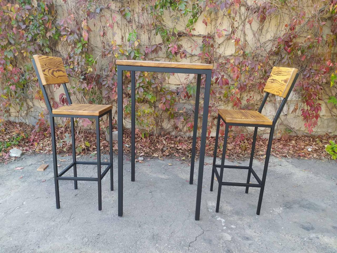 Комплект барный (стол+стулья) GoodsMetall в стиле Лофт БК71
