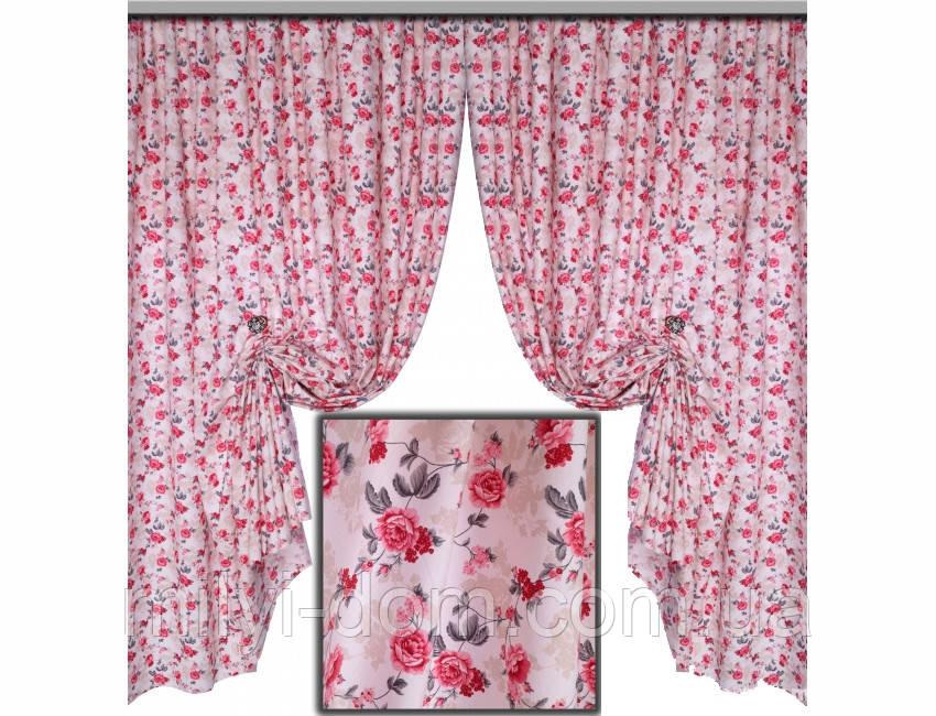 Комплект штор в стилі Прованс Robert Red, 170 * 135 см (2 шт.)